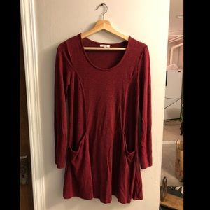 Deep red long sleeve dress